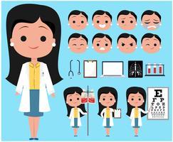 Caractère de femme médecin vecteur