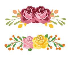 Ensemble de bouquet rose et jaune vecteur