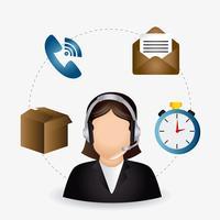 Agent du service clientèle Web 2.0 Femme vecteur