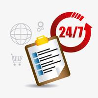 Éléments de conception du service clientèle Web 2.0 24-7 vecteur