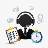 Pictogramme et agent du service clientèle Web 2.0 vecteur