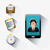 Téléphone intelligent mobile service clientèle Web 2.0 vecteur