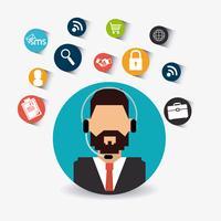 Agent de service clientèle masculin en profil circulaire vecteur