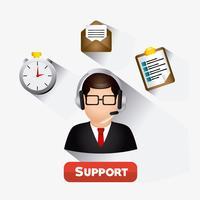 Agent du service clientèle Web 2.0 pour hommes vecteur