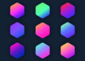 Collection de dégradés hexagonaux vecteur