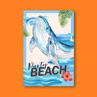 Affiche d'été de baleine de plage de partie vecteur