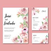 Set Invitation de mariage aquarelle Floral dessiné à la main vecteur