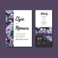 Invitation de mariage floral violet et collection de cartes RSVP vecteur