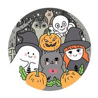 Halloween, fantôme et chat et sorcière et squelette et hibou et batte et citrouille