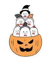 Halloween, fantômes à la citrouille vecteur