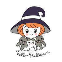 Halloween, fille sorcière et chats noirs