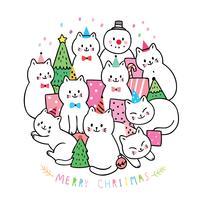 Noël, chats et cadeaux et sapin de Noël