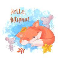 Renard de dessin animé mignon fixant avec souris, automne, feuilles.