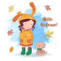 Carte d'automne avec une fille et un chien, feuilles d'automne
