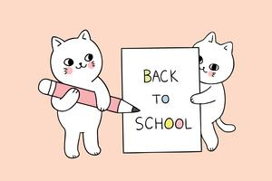 papier d'écriture de chat de retour à l'école vecteur
