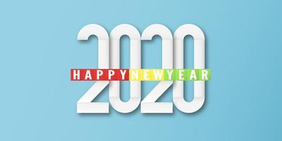 Bonne année 2020, année du rat, en papier découpé et à la mode