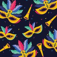Fond noir sans couture avec masque de carnaval et corne