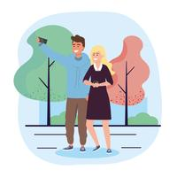 Jeune couple avec smartphone prenant selfie