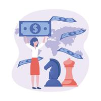 Femme d'affaires détenant de l'argent avec des pièces d'échecs et carte
