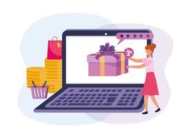 Femme avec ordinateur portable, achats en ligne pour cadeau vecteur