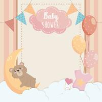 Carte de naissance avec ours en peluche et lune vecteur