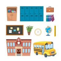 Ensemble d'objets scolaires et pédagogiques