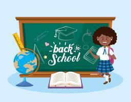 Afro-américaine étudiante avec retour au tableau de l'école vecteur