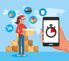 Femme de livraison tenant une boîte et smartphone avec chronomètre vecteur