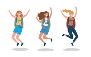 Ensemble de touristes femmes avec des sacs à dos de saut