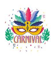 Affiche de carnaval avec plume et masque