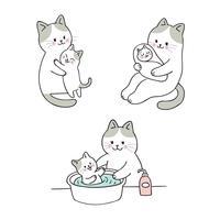 douche maman et bébé chat