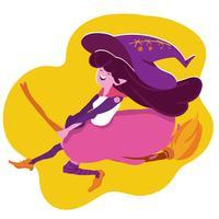 sorcière d'halloween voler avec un manche à balai
