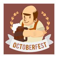 Octoberfest célébration vieil homme tenant une bannière de bière vecteur