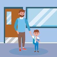 Père à la barbe avec son fils à l'école