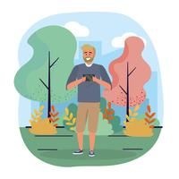 Homme à la barbe en regardant smartphone dans le parc vecteur