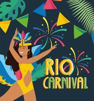 Affiche de carnaval de Rio avec une danseuse en costume avec bannière