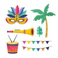 Ensemble d'objets de fête de carnaval vecteur