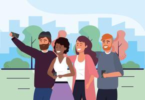 Groupe d'hommes et de femmes prenant selfie