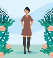 Jeune femme aux cheveux courts à l'extérieur avec des plantes et des fleurs vecteur