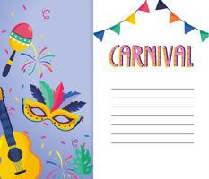 Carte de carnaval avec guitare, masque et maracas vecteur
