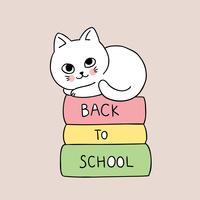 Retour à l'école chat et livre vecteur