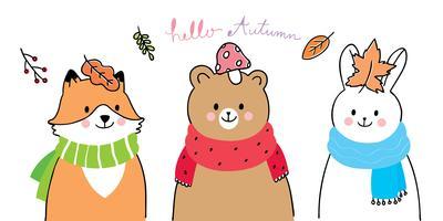 renard, ours et lapin bonjour l'automne vecteur