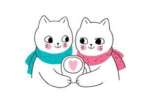 couple de chats d'hiver et tasse à café vecteur