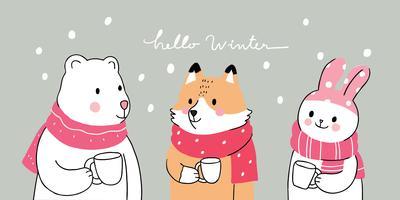 Bonjour les animaux d'hiver vecteur