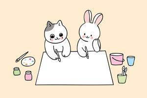 retour à l'école chat et lapin en classe d'art