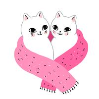 couple de chats d'hiver en écharpe vecteur