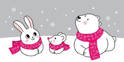 Lapin et souris et ours polaire