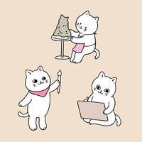retour à l'école chat en classe d'art vecteur
