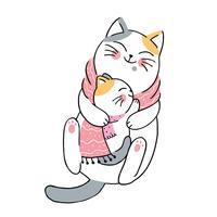 hiver mère et bébés chats