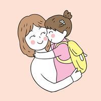 retour à l'école mère et fille s'embrasser